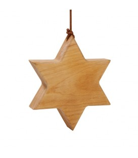 Etoile en bois d'aulne à suspendre 9 cm