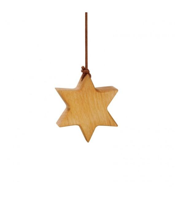 Etoile en bois d'aulne à suspendre 5,5 cm