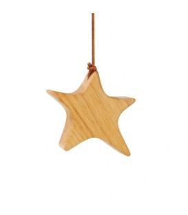 Etoile en bois d'aulne à suspendre, asymétrique 7,5 cm