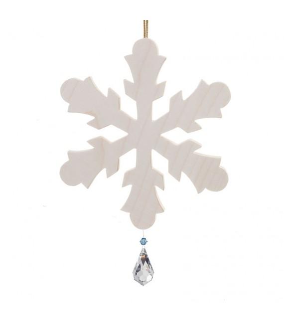 Grand flocon de neige à suspendre avec cristal Swarovski 12 cm