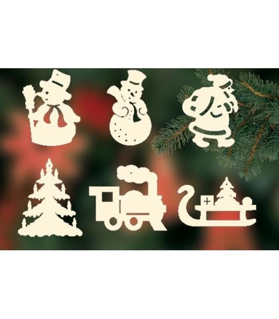 6 figurines de Noël en bois pour sapin - set n° 2