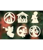 Décorations bois pour sapin de Noël, 6 crèches et anges - set n° 3