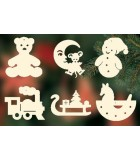 6 jouets en bois pour la décoration du sapin - set n° 5