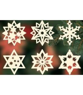 Etoiles en bois. déco sapin de Noël, 6 motifs différents - n° 7