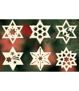 Etoiles en bois, déco sapin de Noël, 6 motifs différents - n° 8