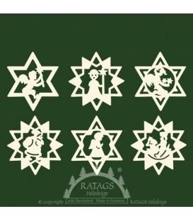 Déco sapin de Noël, étoiles en bois. 6 motifs différents - n° 9