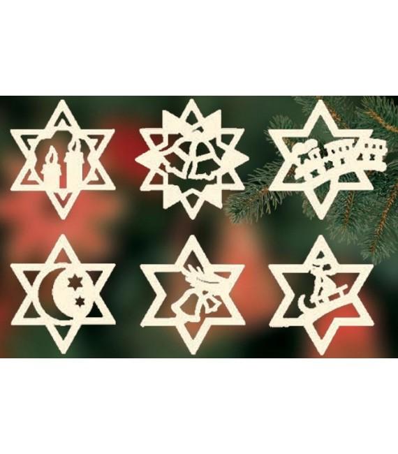 Etoiles en bois, déco sapin de Noël, 6 motifs différents - n° 11