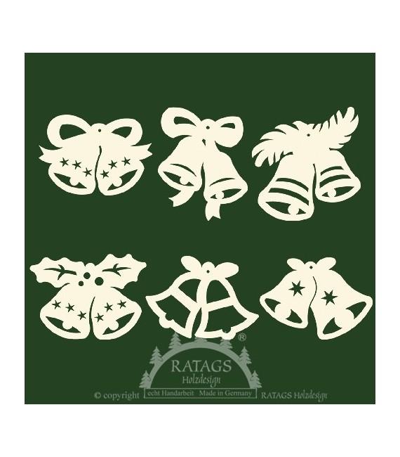 6 clochettes pour décorer le sapin de Noël - set n° 14
