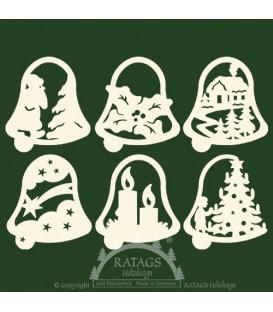 Décoration de Noël pour sapin, 6 clochettes en bois - set n° 18