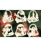 6 Clochettes de Noël en bois avec motifs - set n° 19