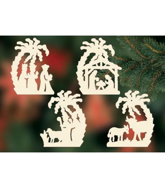 4 crèches de Noël sous un palmier à suspendre au sapin - set n° 23