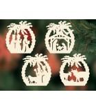 4 décorations pour sapin de Noël, crèches en bois et palmiers - set n° 25