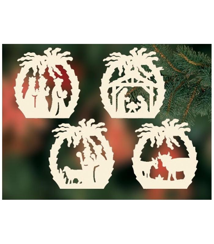 4 d corations pour sapin de no l cr ches en bois avec palmier - Decoration creche de noel ...