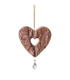 Coeur en bois à suspendre avec cristal Swarovski