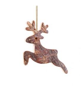 Déco de Noël, cerf en bois à suspendre, 6 cm