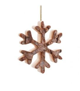 Déco de Noël, flocon de neige en bois à suspendre, 7 cm