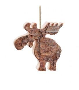 Déco de Noël, élan en bois à suspendre, 6,5cm