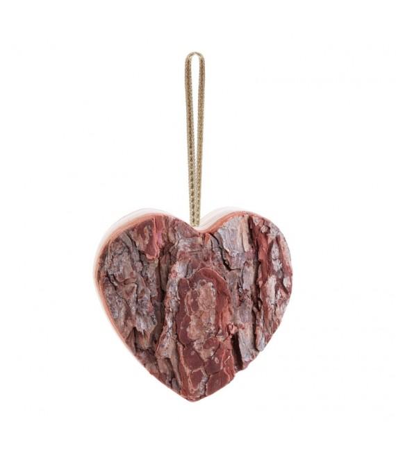 Coeur en bois à suspendre à ruban rouge, 9 cm