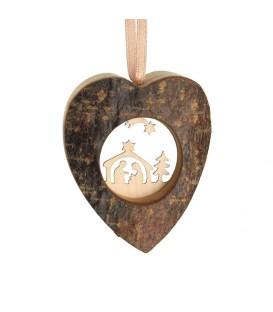 Coeur en bois à suspendre motif ciselé crèche et étoile, 6 cm