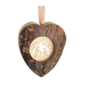 Coeur en bois à suspendre motif ciselé crèche, 6 cm