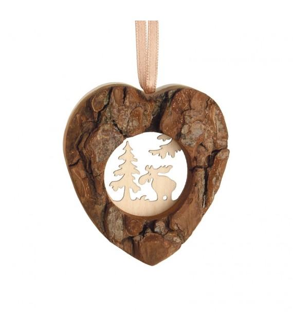 Coeur en bois à suspendre motif ciselé élan, 6 cm