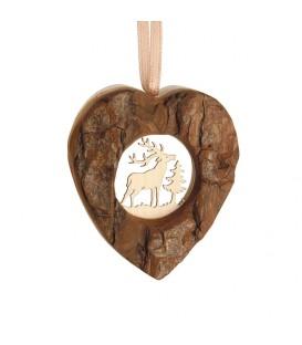 Coeur en bois à suspendre motif ciselé cerf, 6 cm