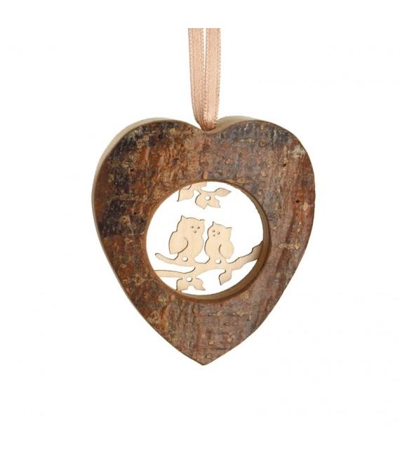 Coeur en bois à suspendre motif ciselé hiboux, 6 cm