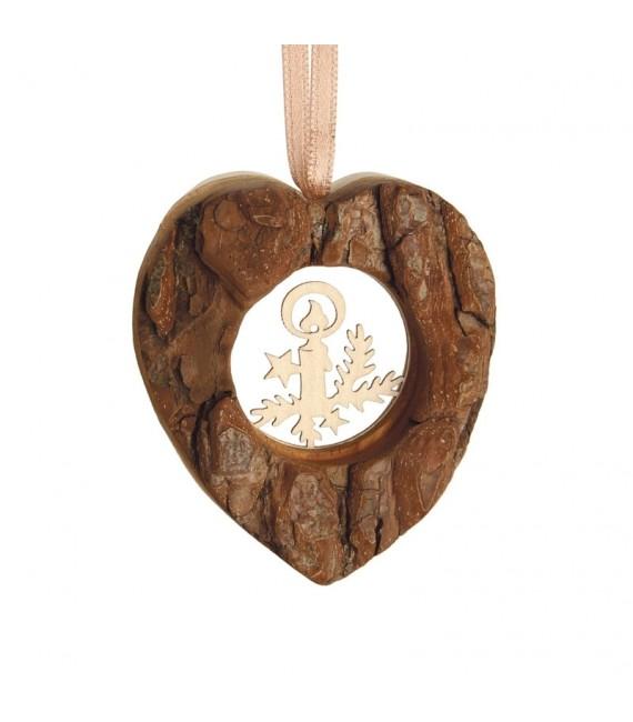 Coeur en bois à suspendre motif ciselé bougie, 6 cm