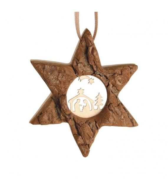 Etoile en bois, motif ciselé crèche et étoile, 7 cm