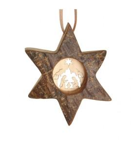 Etoile en bois, motif ciselé crèche, 7 cm