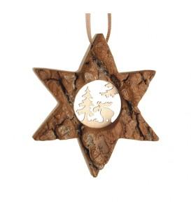 Etoile en bois, motif ciselé élan, 7 cm