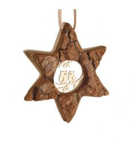 Etoile en bois, motif ciselé hiboux, 7 cm