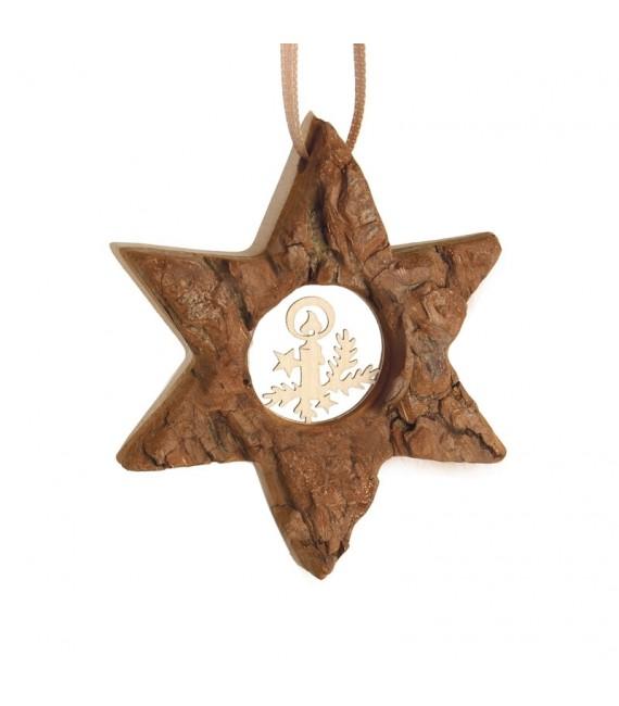Etoile en bois, motif ciselé bougie, 7 cm