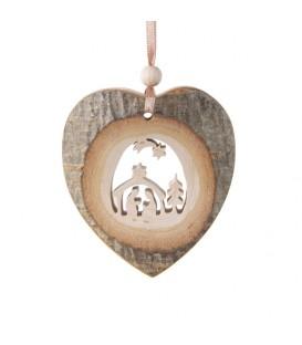 Coeur en bois à suspendre motif ciselé crèche et étoile, 7 cm