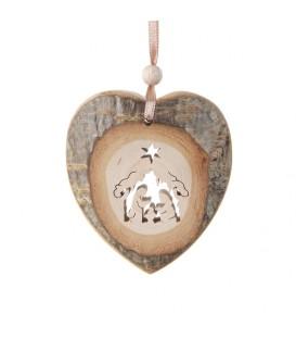 Coeur en bois à suspendre motif ciselé crèche, 7 cm