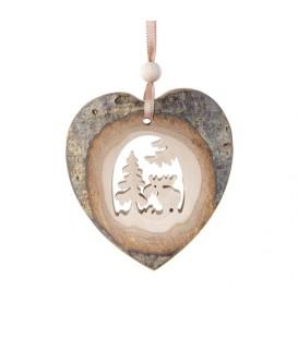 Coeur en bois à suspendre motif ciselé élan, 7 cm