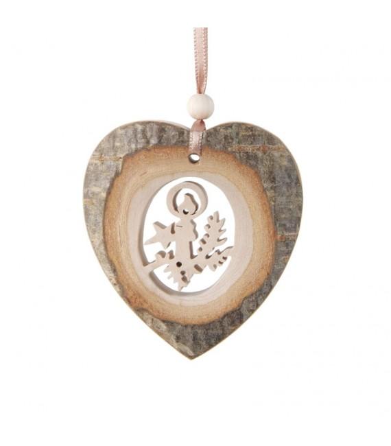 Coeur en bois à suspendre motif ciselé bougie, 7 cm