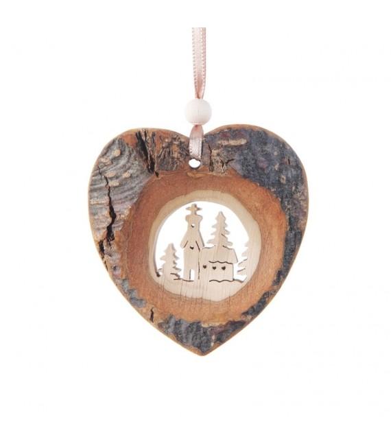 Coeur en bois à suspendre motif ciselé église, 7 cm