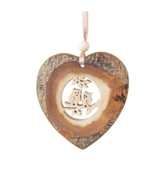 Coeur en bois à suspendre motif ciselé hiboux, 7 cm