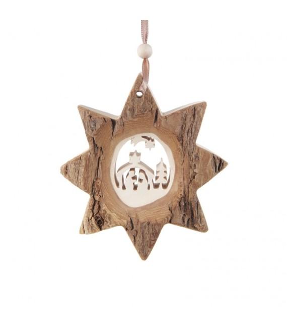Etoile en bois, motif ciselé crèche et étoile, 10 cm