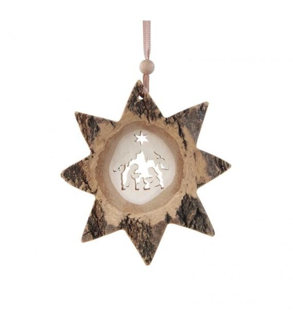 Etoile en bois, motif ciselé crèche, 10 cm
