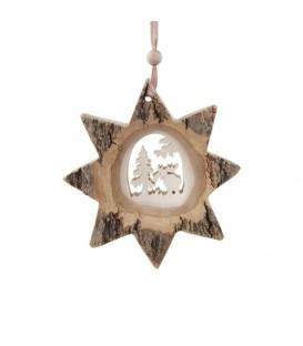 Etoile en bois, motif ciselé élan, 10 cm