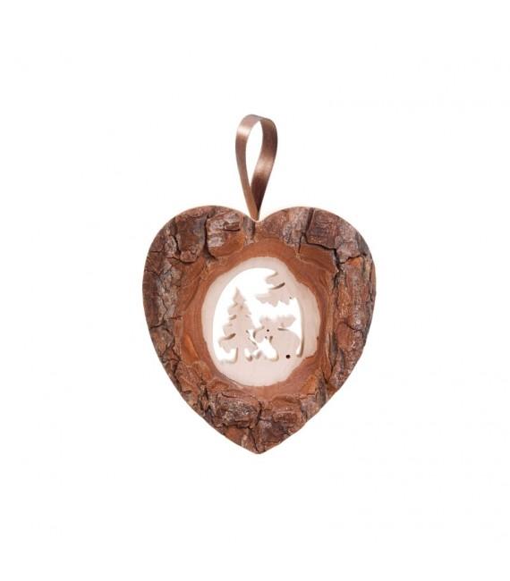 Décoration murale en bois, grand coeur motif élan, 14,5 cm