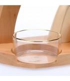Coupelle en verre transparent de rechange avec bordure dorée