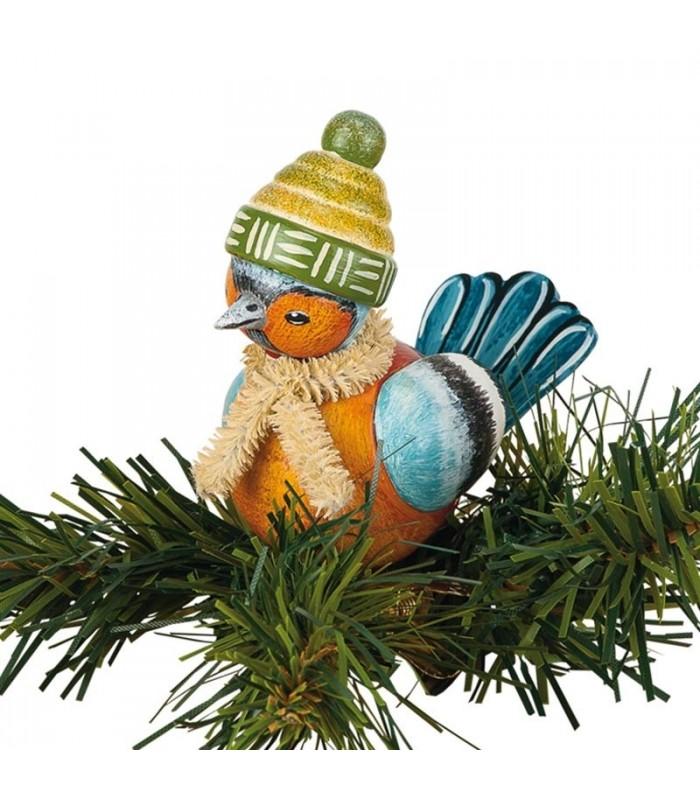 Oiseau décoratif bois - Pinson à clipser sur nche on
