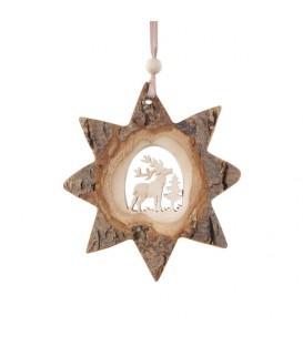 Etoile en bois, motif ciselé cerf, 10 cm
