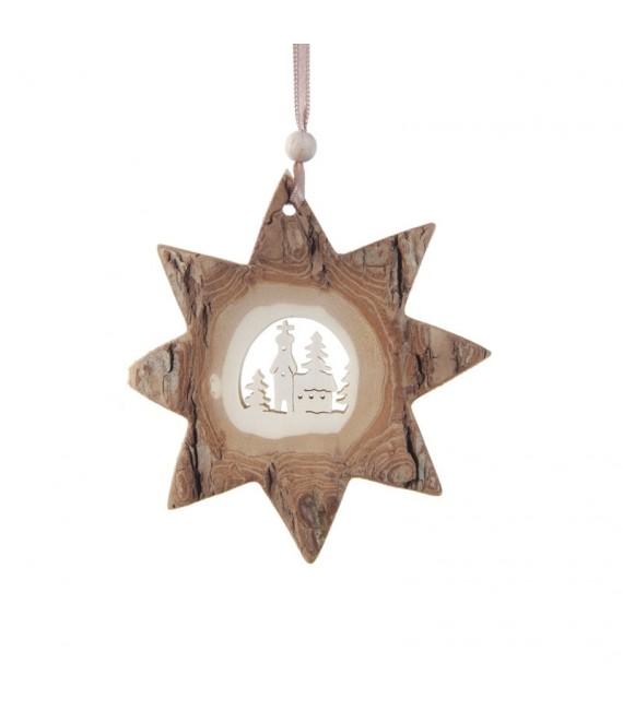 Etoile en bois, motif ciselé église, 10 cm