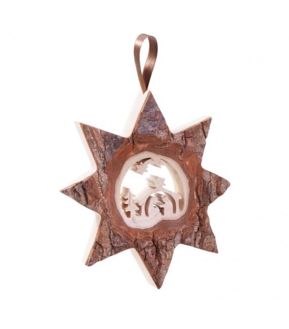 Décoration murale en bois, grande étoile motif crèche de Noël, 19 cm