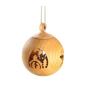 Boule de Noël en bois, motif crèche, 6 cm