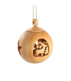 Boule de Noël en bois, motif cerf, 6 cm